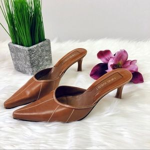 Nine West Brown Leather Pointy Toe Kitten Heels